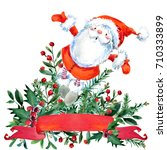 Cute Santa Claus. Watercolor...