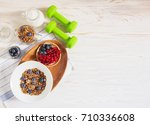 healthy food fitness and health ... | Shutterstock . vector #710336608