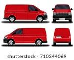 realistic cargo van. front view ... | Shutterstock .eps vector #710344069