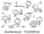 happy cartoon sketchy kids with ...   Shutterstock .eps vector #710348914
