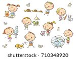 happy cartoon sketchy kids with ... | Shutterstock .eps vector #710348920