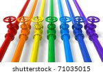 rainbow pipelines with valves | Shutterstock . vector #71035015