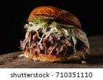 bbq pulled pork sandwich with... | Shutterstock . vector #710351110