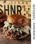 bbq pulled pork sandwich with...   Shutterstock . vector #710351140