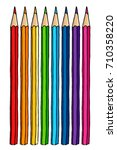 colored pencils set hand drawn... | Shutterstock .eps vector #710358220