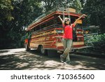 traveler woman with backpack... | Shutterstock . vector #710365600