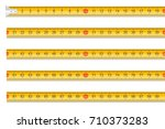 measuring tape one meter in... | Shutterstock .eps vector #710373283
