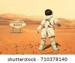 Spaceman Walks Red Planet Mars - Fine Art prints