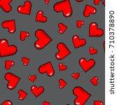 vector pixel 8 bit red hearts...   Shutterstock .eps vector #710378890