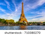 paris eiffel tower and river... | Shutterstock . vector #710380270