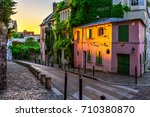 sunset view of old street in... | Shutterstock . vector #710380870