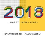 2018 happy new year. memphis... | Shutterstock .eps vector #710396050