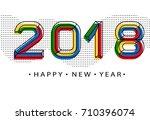 2018 happy new year. memphis... | Shutterstock .eps vector #710396074