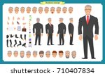 Front, side, back view animated character. Manager character creation set with various views, hairstyles, face emotions, poses and gestures. Cartoon style, flat vector illustration.People character | Shutterstock vector #710407834