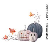 watercolor halloween  set. it's ... | Shutterstock . vector #710413330