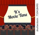 cinema auditorium flat icons... | Shutterstock . vector #710418490
