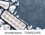 assorted white trash on a grey... | Shutterstock . vector #710421193