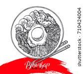 asian food. bibimbap korean... | Shutterstock .eps vector #710424004