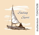 sea sport. sketch. competitions ... | Shutterstock .eps vector #710427658