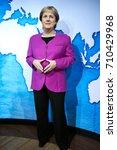 Small photo of Amsterdam, Netherlands - September 05, 2017: Angela Merkel, German cancelloe, Madame Tussauds wax museum in Amsterdam