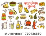 mexican cuisine  sketch doodle...   Shutterstock .eps vector #710436850