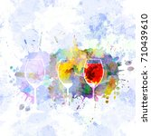 three wine glasses with red and ... | Shutterstock .eps vector #710439610