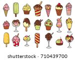 icon set of ice frozen desserts ... | Shutterstock .eps vector #710439700