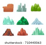 set elements of nature mountain ... | Shutterstock .eps vector #710440063