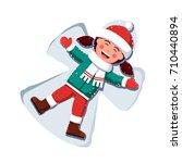happy smiling little girl kid... | Shutterstock .eps vector #710440894