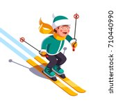 smiling boy skiing fast down... | Shutterstock .eps vector #710440990