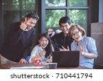 asian freelance teamwork... | Shutterstock . vector #710441794