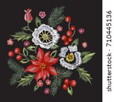 embroidery christmas pattern... | Shutterstock .eps vector #710445136