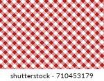 firebrick gingham seamless... | Shutterstock .eps vector #710453179