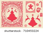 christmas greeting card... | Shutterstock .eps vector #710453224