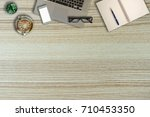 top view desk work office with... | Shutterstock . vector #710453350