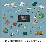 back to school doodles. vector... | Shutterstock .eps vector #710455480