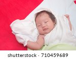 cute adorable newborn baby girl ... | Shutterstock . vector #710459689
