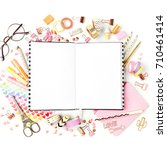 planner mockup and stationary.... | Shutterstock . vector #710461414
