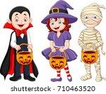 cartoon kids with halloween... | Shutterstock .eps vector #710463520