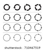 sets of black circle arrows... | Shutterstock .eps vector #710467519