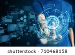 businessman press technology | Shutterstock . vector #710468158