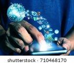 man press smart phone | Shutterstock . vector #710468170