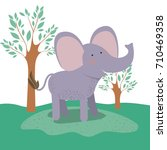 elephant animal caricature in... | Shutterstock .eps vector #710469358