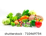 collection vegetables isolated... | Shutterstock . vector #710469754
