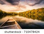 aluminum canoe on a mountain...   Shutterstock . vector #710478424