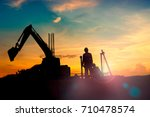 construction equipment's... | Shutterstock . vector #710478574
