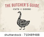 cut of meat set. poster butcher ... | Shutterstock .eps vector #710489488