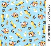 vector cartoon pattern.... | Shutterstock .eps vector #710491180