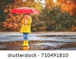 happy child girl with an... | Shutterstock . vector #710491810