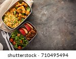 lunch boxes with food ready to... | Shutterstock . vector #710495494